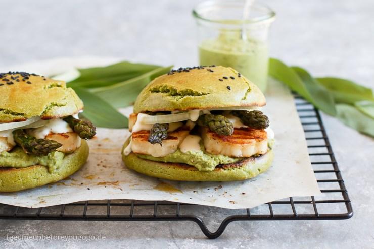 Vegetarischer Burger mit Bärlauchhummus, Spargel und Halloumi Rezept