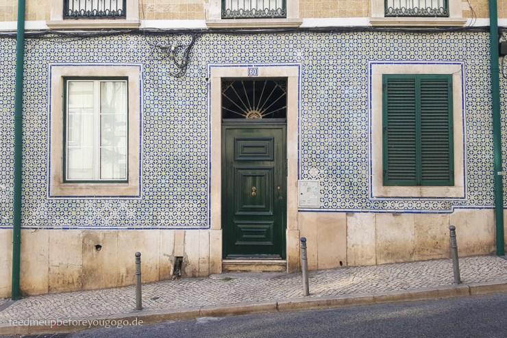 Lissabon Hausfassade Kachlen kulinarische Tipps