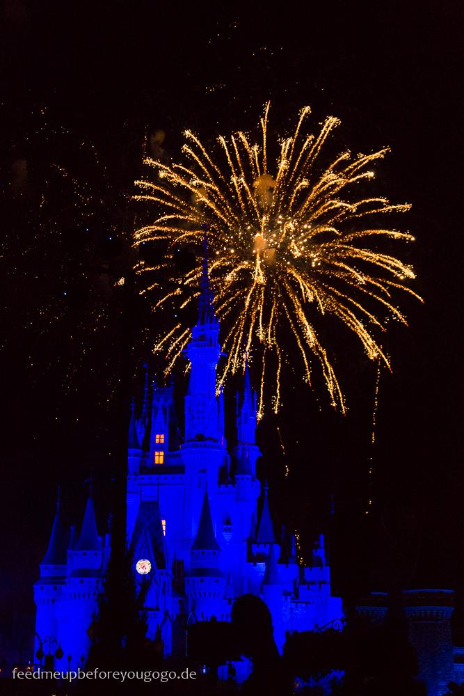 Feuerwerk vor dem Cinderella Schloss im Magic Kingdom Walt Disney World Orlando Florida