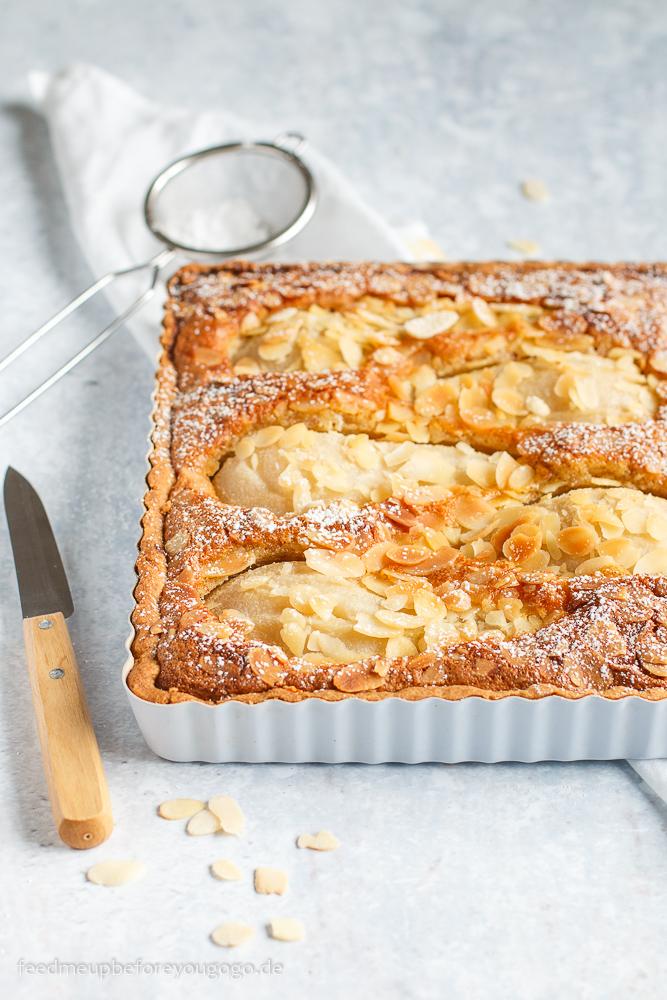 Tarte mit pochierten Birnen und Mandeln Rezept