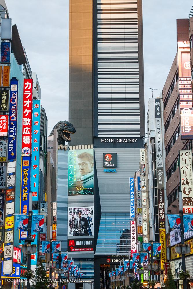 Shinjuku Godzilla Road, Tokio Basics für die Reiseplanung. Tipps für Reise nach Japan