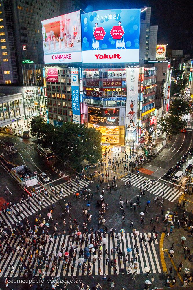 Shibuya Crossing von oben, Tokio Basics für die Reiseplanung. Tipps für Reise nach Japan