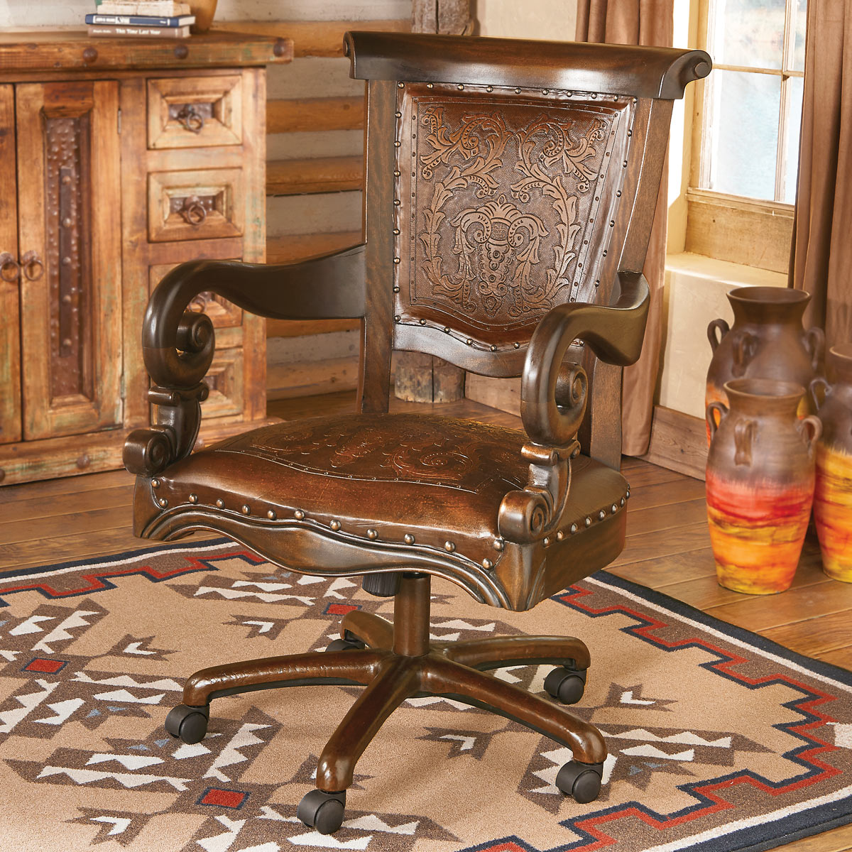 wooden leather desk chair electric photos tooled western