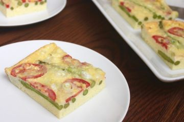 asparagus and tomato frittata with sharp cheddar cheese