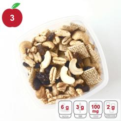 healthier snack mix raisins cashews wheat waffles and wheat puffs