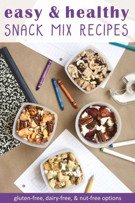 These easy to make snack mixes are my boys' favorite school snack. Easily customized to fit taste preferences and allergies, these healthy trail mix recipes are packed with whole grains, protein, and no-added-sugar fruit.