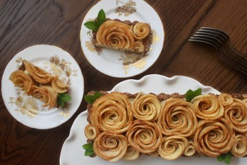 apple rose tart with coconut pastry cream dairy free