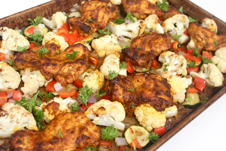 roasted ginger turmeric chicken and vegetable sheet pan
