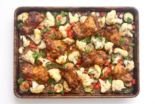 roasted ginger turmeric chicken and vegetable sheet pan dinner