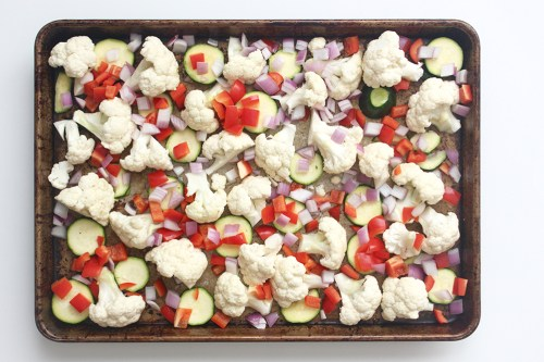 veggies for roasted ginger turmeric sheet pan