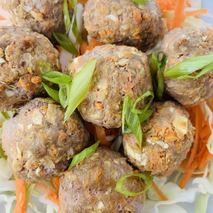 Egg Roll Meatballs (Dairy Free, Egg Free, and Gluten Free Option)