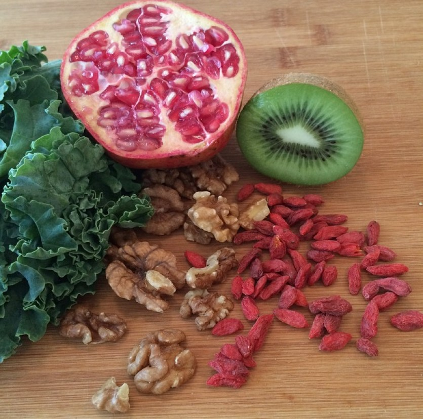 Chosen Superfoods; Kale, kiwi, walnuts, pomegranate