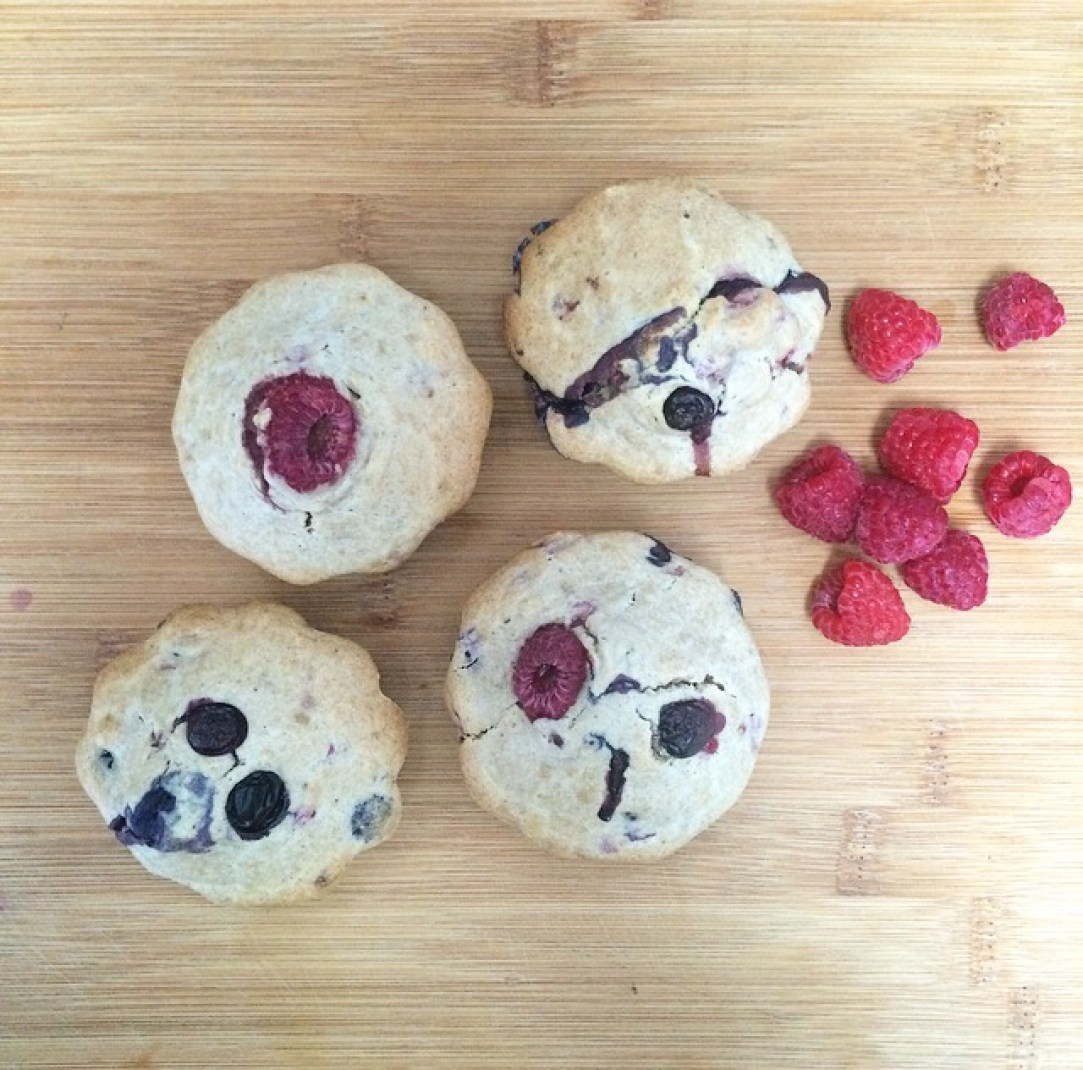 My vegan, whole wheat blueberry & raspberry muffins