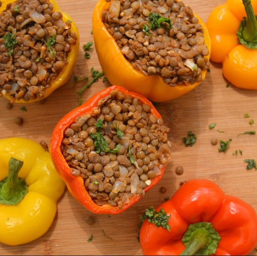 My vegan curried lentil stuffed peppers