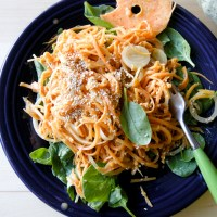 Sweet Potato Noodles with a Miso Garlic Sauce