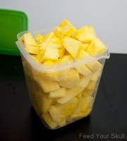 cut and cube pineapple