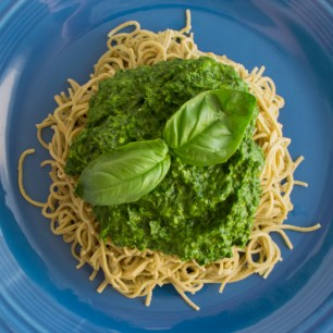 Edamame Pasta with Mixed Green Pesto | Feed Your Skull