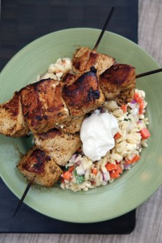 Feed Zone Cookbook grilled chicken with summer orzo