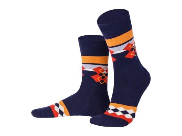 "Socks ""Regular diamonds on blue"", Creative collection"