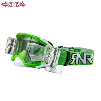 RNR Rip n Roll Adult Platinum Wide Vision Roll Off Goggles Green
