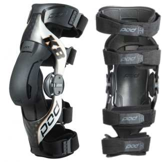 Pod Mx K8 2.0 Knee Braces Carbon Silver Adult