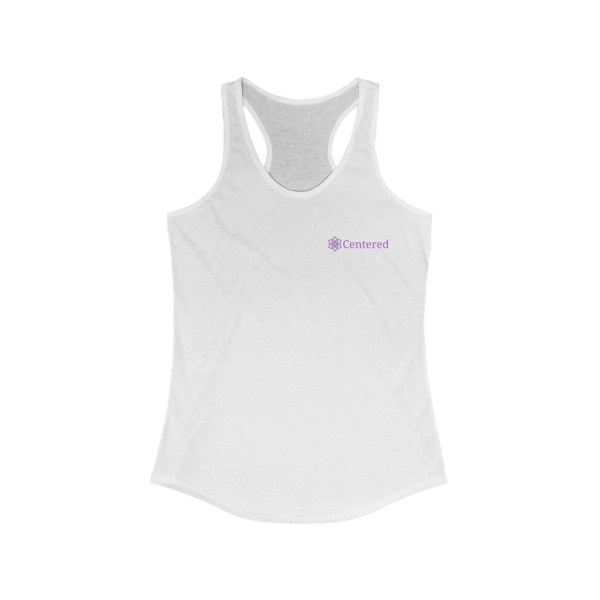 Centered Women's Ideal Racerback Solid White Tank