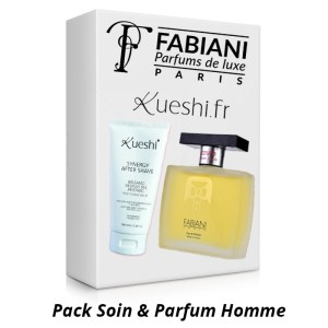 image illustrant un coffret cadeaux cotnenant un parfum fabiani et un soins kueshi