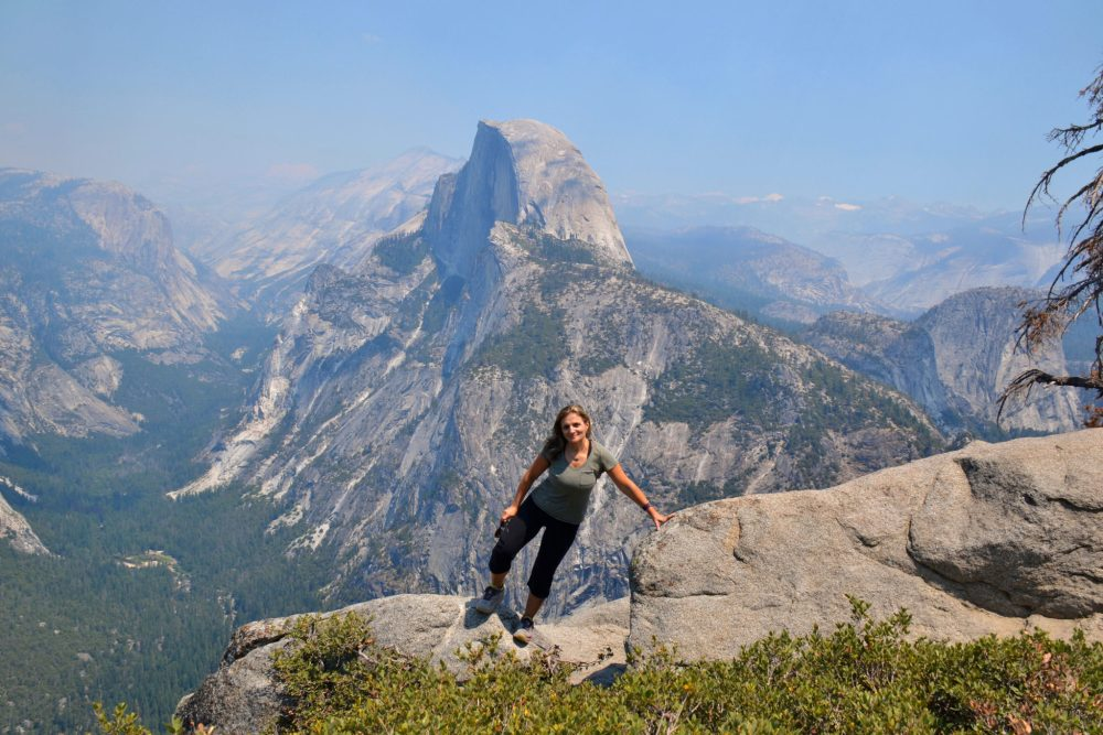 At Glacier Point with Half Dome and Yosemite Valley in the back