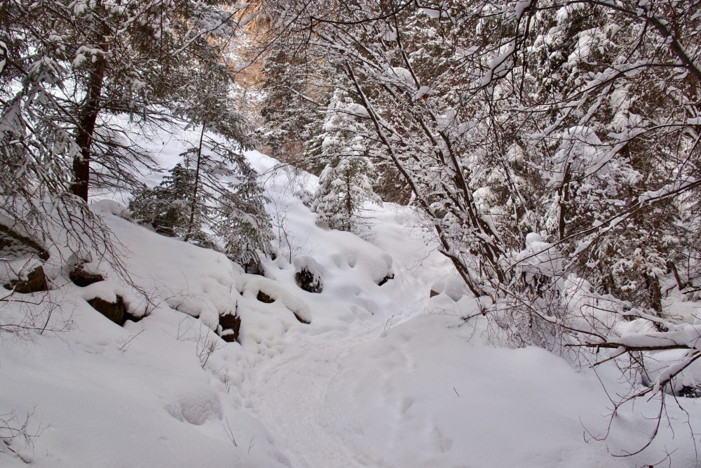 Hanging Lake trail covered in snow