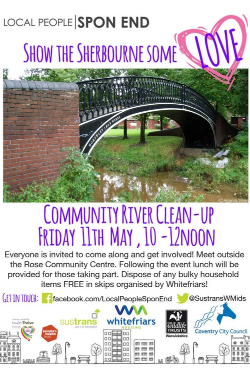 Flyer for the River Sherbourne Spring Clean Event on Friday 11th May 2018