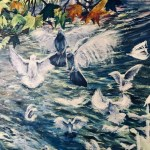 Hand painted image of water and doves flying into the air. There are leaves painted also