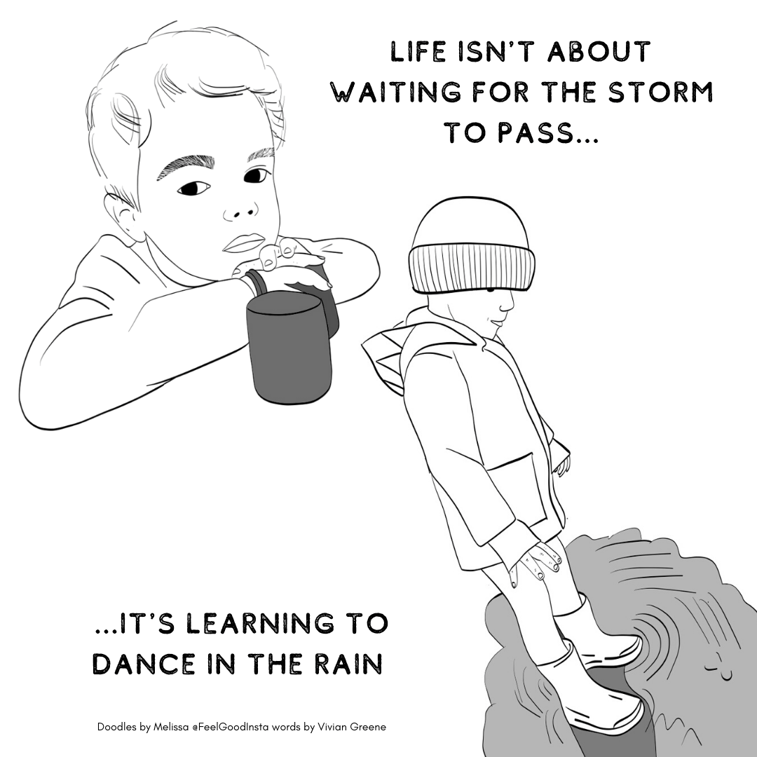 "One he is sitting inside with his hands crossed and a beaker in front of him. The other he is outside waering wellies, a rain mac and hat. He is standing in a puddle. The words say"" Life isnt about waiting for the storm to pass. Its about learning to dance in the rain."""