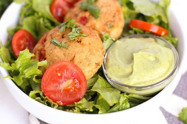 Easy Crab Cakes & Avocado Sauce - Flash-frozen fresh, high quality lump crab meat stuffed with fresh-harvested veges, paired with a creamy avocado sauce