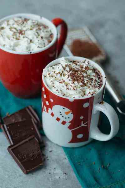 This Cashew Milk Hot Chocolate is one of my favorite holiday drinks - it's vegan, paleo-friendly, naturally sweetened & easy to make with a few ingredients!