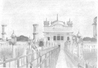 golden temple pencil sketch