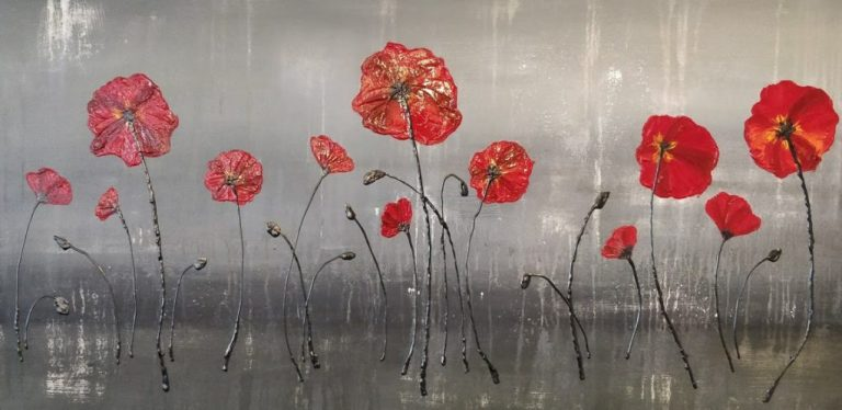 Red Poppies Acrylic Abstract