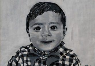 Acrylic portrait black and white boy