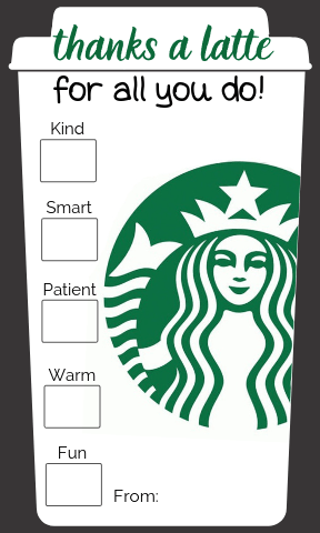 graphic about Thanks a Latte Printable Tag identified as 4 Basic \
