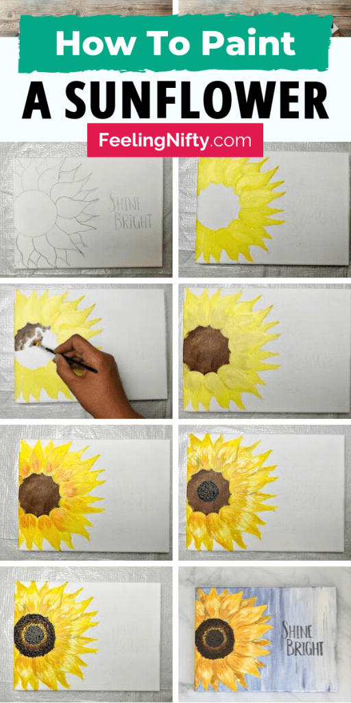 how to paint easy sunflower