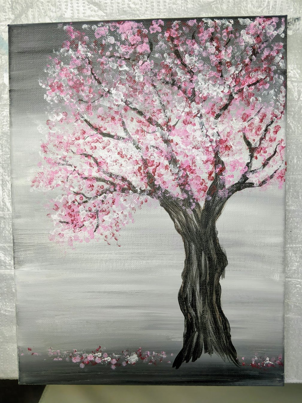 cherry blossom painting on canvas