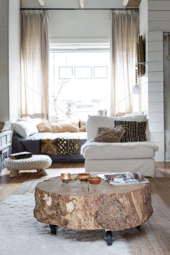 diy stylish tree trunk coffee tables