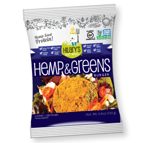 hilary's eat well hemp greens burger