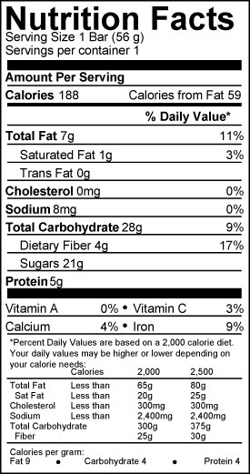 bearded brothers bar nutrition facts