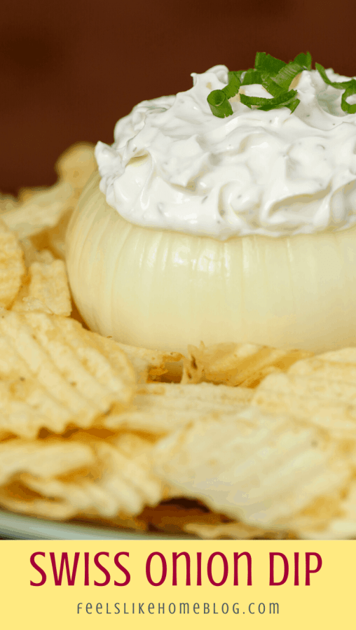 an onion bowl with Swiss cheese and onion dip