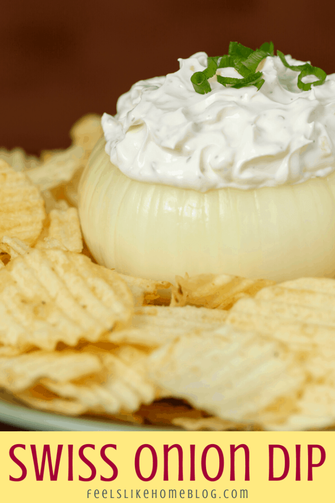 onion and swiss cheese dip with chips