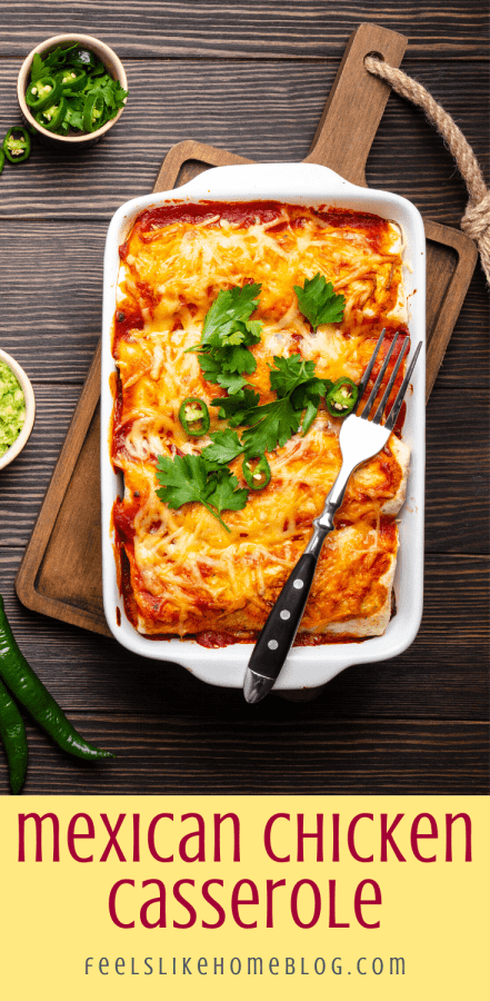 Mexican layered chicken casserole on a board