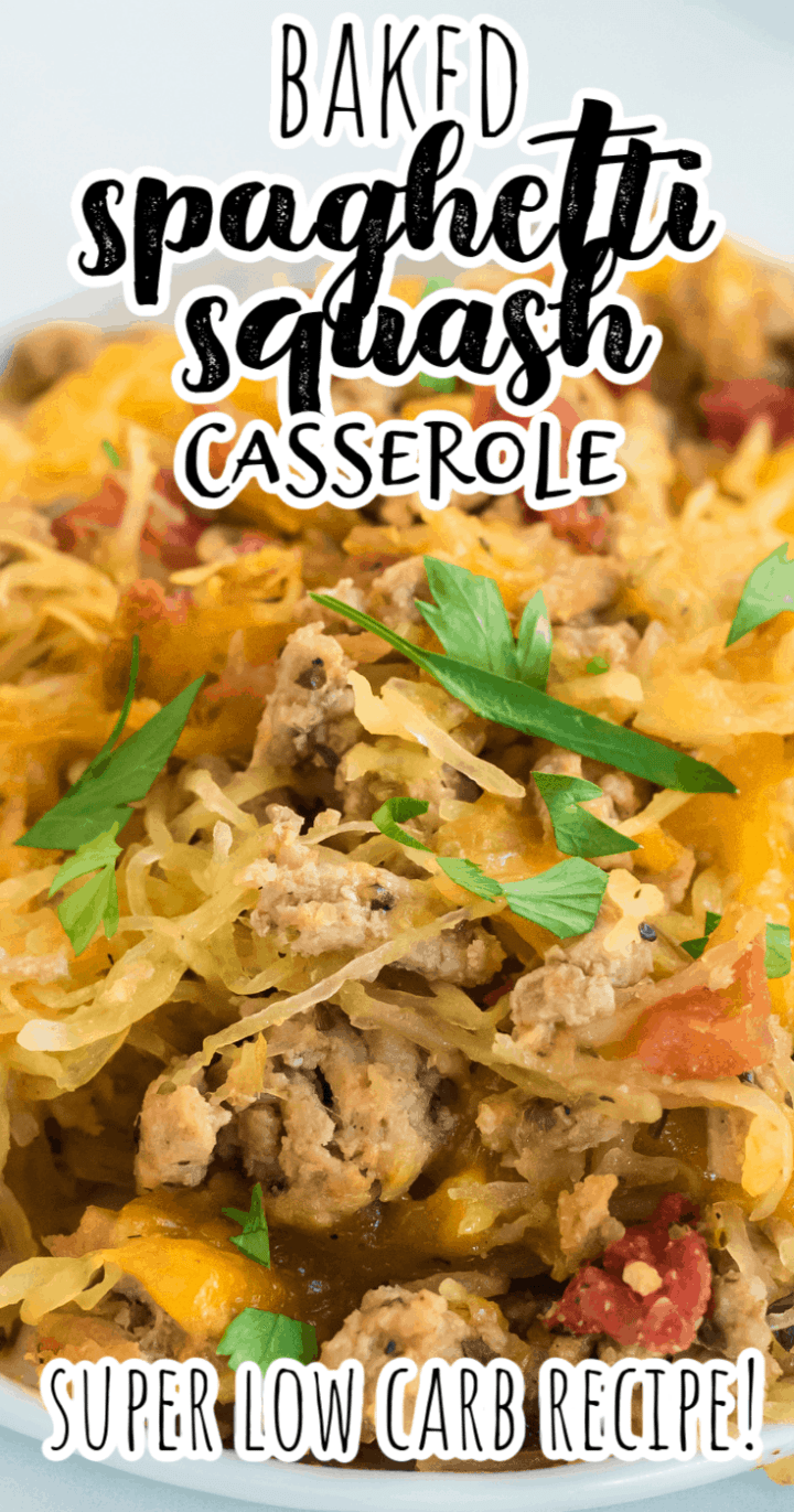Baked Spaghetti Squash Casserole with Ground Beef, Tomatoes, and Cheese