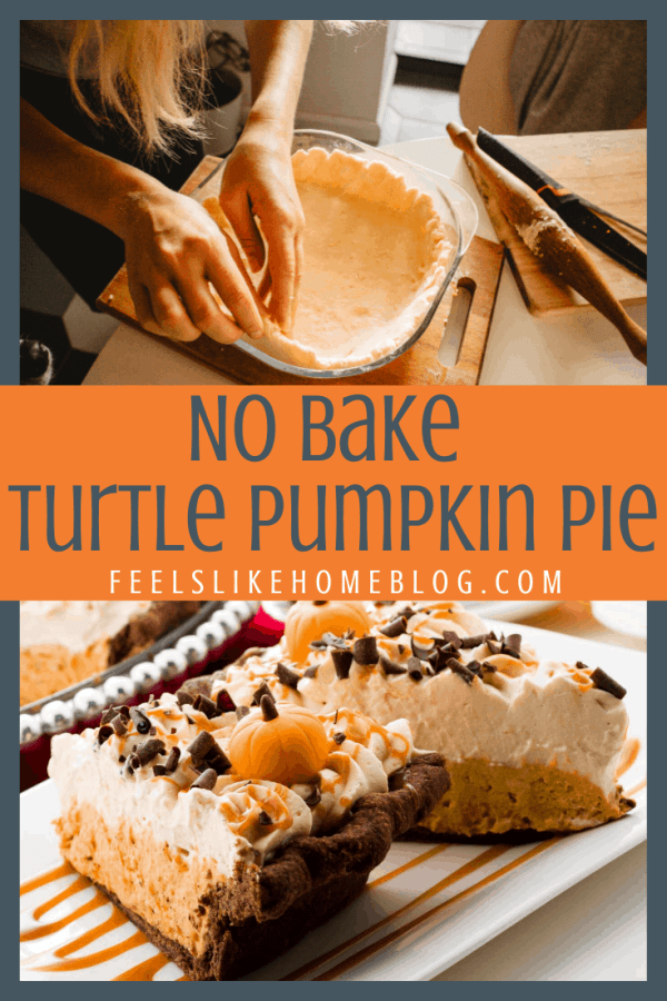 a collage of a pie crust and two slices of pie with pumpkin, pecans, caramel, and turtle
