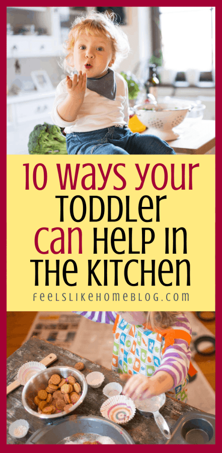 a collage of toddlers helping in the kitchen