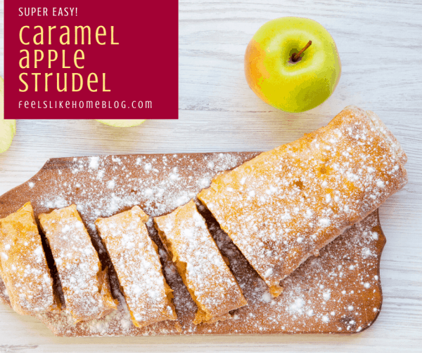 a close up of a caramel apple strudel